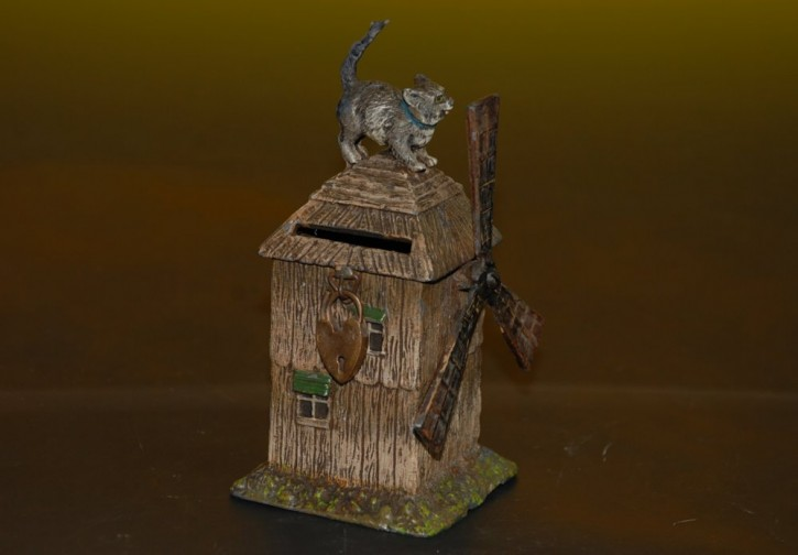 antique metal cast Spardose * mill with cat * hand-painted ...